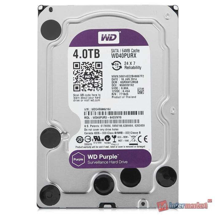 Жесткий диск, Dahua, WD40PURX, HDD 4Tb, SATA 6Gb/s, 3.5